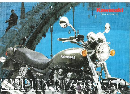 CATALOGO ORIGINAL KAWASAKI ZEPHYR 750 550 CARACTERISTICAS TECNICAS (Coches y Motocicletas Antiguas y Clásicas - Catálogos, Publicidad y Libros de mecánica)