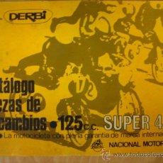Coches y Motocicletas: CATALOGO PIEZAS DE RECAMBIO DERBI SUPER 125 4 VELOCIDADES. Lote 112595295