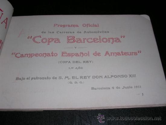 Coches y Motocicletas: COCHES - COPA BARCELONA , PROGRAMA OFICIAL 1911 CAMPEONATO ESPAÑOL DE AMATEURS, COPA DEL REY - Foto 3 - 32179490