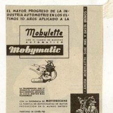 Coches y Motocicletas: RECORTE PUBLICIDAD // MOBYLETTE // GARATE ANITUA - EIBAR . Lote 32510176