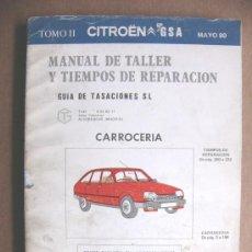 Coches y Motocicletas: MANUAL DE TALLER Y TIEMPOS DE REPARACION CITROEN GSA - TOMO II CARROCERIA - MAYO 1980. Lote 32778616