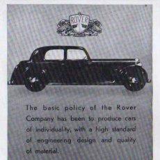 Coches y Motocicletas: PUBLICIDAD - ROVER - 1940/45 - APROXIMADAMENTE 10 X 15 CM.. Lote 32879119