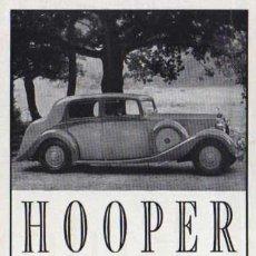 Coches y Motocicletas: PUBLICIDAD - HOOPER - 1940/45 - APROXIMADAMENTE 10 X 15 CM.. Lote 32879218