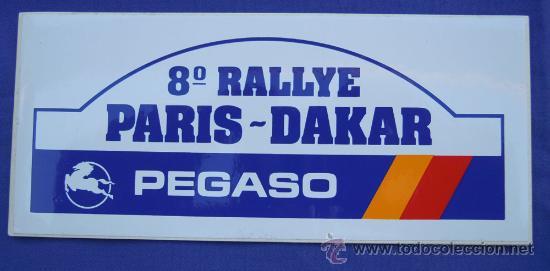 PEGATINA PEGASO 8º RALLYE PARIS-DAKAR 7CM.X15,5 CM (Coches y Motocicletas Antiguas y Clásicas - Catálogos, Publicidad y Libros de mecánica)