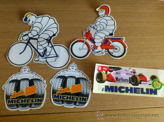 LOTE DE PEGATINAS ADHESIVOS DE MICHELIN 5 UNIDADES (Coches y Motocicletas Antiguas y Clásicas - Catálogos, Publicidad y Libros de mecánica)