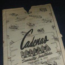 Coches y Motocicletas: CADENAS, SUMINISTROS INDUSTRIALES. FERNANDO B FOJ, BARCELONA. BUICK CADILLA DODGE.... Lote 34375683