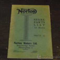 Coches y Motocicletas: NORTON - SPARE PARTS LIST - ALL MODELS - AÑO 1934 - ORIGINAL -. Lote 36832950