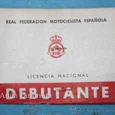 Coches y Motocicletas - ANTIGUO CARNET DE DEBUTANTE DE LA REAL FEDERACION MOTOCICLISTA ESPAÑOLA - LICENCIA NACIONAL - - 35237819