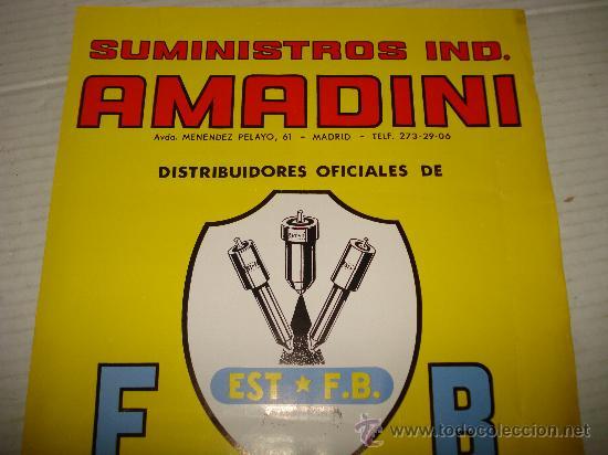 Coches y Motocicletas: Antiguo Cartel de Suministros Industriales AMADINI de Madrid , año 1960s - Foto 2 - 35385514