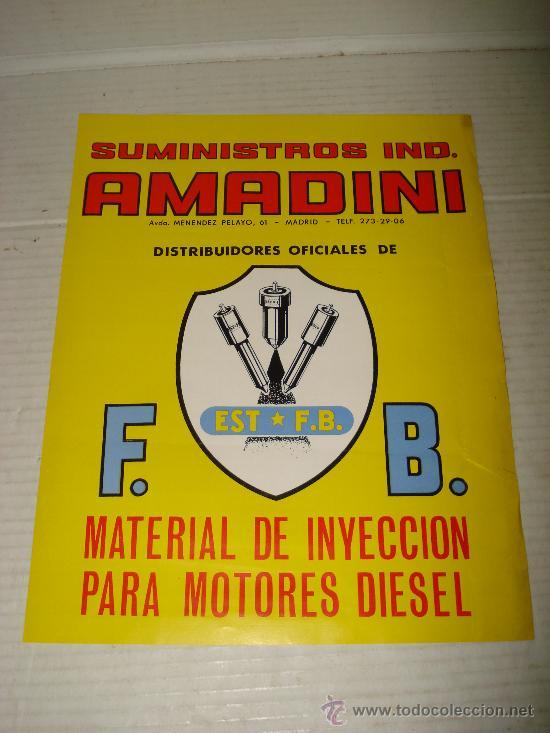 ANTIGUO CARTEL DE SUMINISTROS INDUSTRIALES AMADINI DE MADRID , AÑO 1960S (Coches y Motocicletas Antiguas y Clásicas - Catálogos, Publicidad y Libros de mecánica)