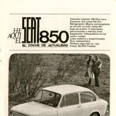 Coches y Motocicletas: PÁGINA PUBLICIDAD ORIGINAL DE *SEAT 850* --- AÑO 1966. Lote 35840146