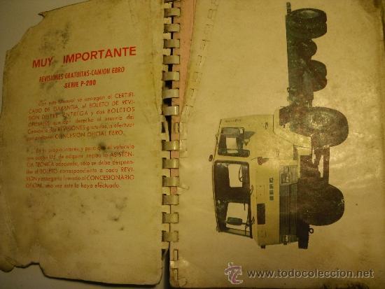 MANUAL DE INSTRUCCIONES SERIE EBRO P-200 (NO PEGASO) (Coches y Motocicletas Antiguas y Clásicas - Catálogos, Publicidad y Libros de mecánica)