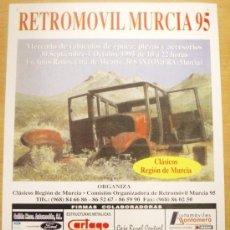 Coches y Motocicletas: CARTEL DE RETROMOVIL MURCIA 1995, MERCADO DE VEHÍCULOS DE EPOCA. Lote 36024426