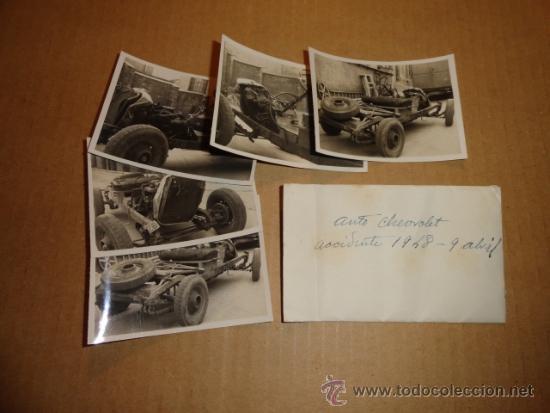LOTE DE 5 FOTOS DE COCHE AUTO CHEVROLET (ACCIDENTADO 1948, FOTO AMPLIACIÓN MASANA, MANRESA) (Coches y Motocicletas Antiguas y Clásicas - Catálogos, Publicidad y Libros de mecánica)