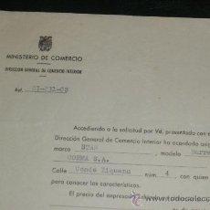 Coches y Motocicletas: MINISTERIO DE COMERCIO, COMERCIO INTERIOR. ASIGNACION DE VEHICULO REQUISADO. BARREIROS.. Lote 36299522