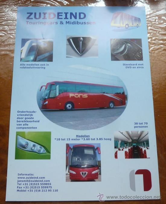 CATALOGO AUTOBUSES ZUIDEIND HOLANDA NOGE AUTOBUS AUTOCAR AUTOCARES IRIZAR SETRA (Coches y Motocicletas Antiguas y Clásicas - Catálogos, Publicidad y Libros de mecánica)