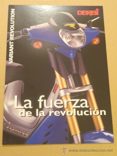 FOLLETO (BROCHURE) MOTO DERBI VARIANT REVOLUTION (Coches y Motocicletas Antiguas y Clásicas - Catálogos, Publicidad y Libros de mecánica)