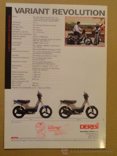Coches y Motocicletas: FOLLETO (BROCHURE) MOTO DERBI VARIANT REVOLUTION - Foto 3 - 36599316