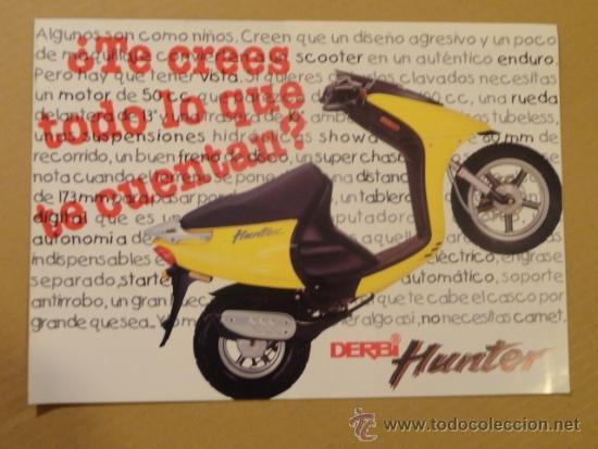 FOLLETO (BROCHURE) MOTO DERBI HUNTER (Coches y Motocicletas Antiguas y Clásicas - Catálogos, Publicidad y Libros de mecánica)