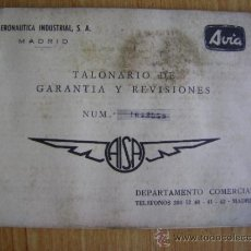 Coches y Motocicletas: AVIA AISA, TALONARIO DE GARANTÍA Y REVISIONES.. Lote 37919585