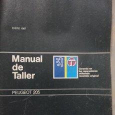 Coches y Motocicletas: MANUAL TALLER Y REPARACION AUTOMOVIL PEUGEOT 205 ENERO 1987. Lote 59068826