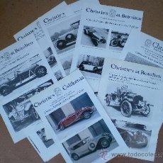 Coches y Motocicletas: LOTE 21 HOJAS DE SUBASTAS CHRISTIE'S CON FOTOS DE COCHES DE ÉPOCA. Lote 38035616