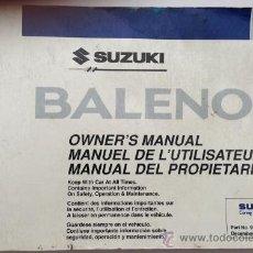 Coches y Motocicletas: SUZUKI BALENO- 1999 - TODA LA GAMA - MANUAL INSTRUCCIONES USUARIO, TEXTO EN ESPAÑOL, INGLÉS, FRANCÉS. Lote 140128881