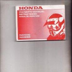 Coches y Motocicletas: MANUAL DEL PROPIETARIO HONDA NX 500/ NX 650 (ORIGINAL) IDIOMA ESPAÑOL/INGLES/ALEMAN. . Lote 38305415