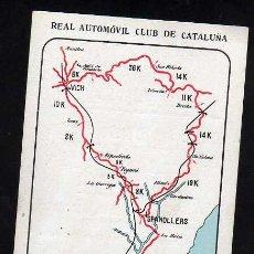 Coches y Motocicletas: TARJETA PUBLICITARIA ITINERARIO N.14 - REAL AUTOMOVIL CLUB DE CATALUÑA - APROX AÑOS 1930. Lote 38310040