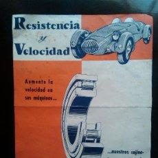 Coches y Motocicletas: PUBLICIDAD RESISTENCIA Y VELOCIDAD COJINETES CASPE BARCELONA AÑOS 50. Lote 38533294
