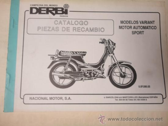 CATALOGO DESPIECE ORIGINAL MOTOCICLETA DERBI MODELO VARIANT SPORT 1989 (Coches y Motocicletas Antiguas y Clásicas - Catálogos, Publicidad y Libros de mecánica)