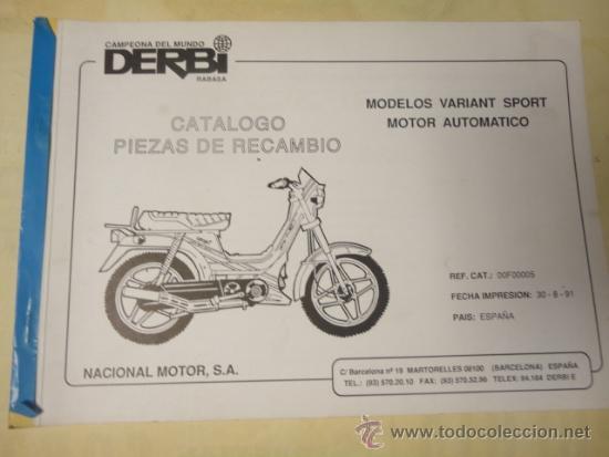 CATALOGO DESPIECE ORIGINAL MOTOCICLETA DERBI MODELO VARIANT SPORT 1991 (Coches y Motocicletas Antiguas y Clásicas - Catálogos, Publicidad y Libros de mecánica)