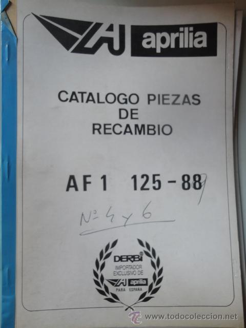 CATALOGO DESPIEDE ORIGINAL MOTOCICLETA APRILIA MODELO AF1 125 88 (Coches y Motocicletas Antiguas y Clásicas - Catálogos, Publicidad y Libros de mecánica)