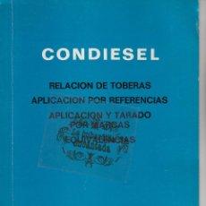 Coches y Motocicletas: CATALOGO EMPRESA CONDIESEL - REPARACION TOBERAS, TARADO POR MARCAS Y EQUIVALENCIAS - AÑO 1972 - 30 P. Lote 139880857