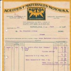 Coches y Motocicletas: ACEITES Y MATERIALES MOTOR AUTOL ,BARCELONA 1928. Lote 40029126