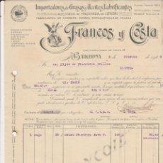 Coches y Motocicletas: IMPORTADORES DE GRASAS Y ACEITES LUBRIFICANTESFRANCO Y COSTA BARCELONA 1929. Lote 40029960