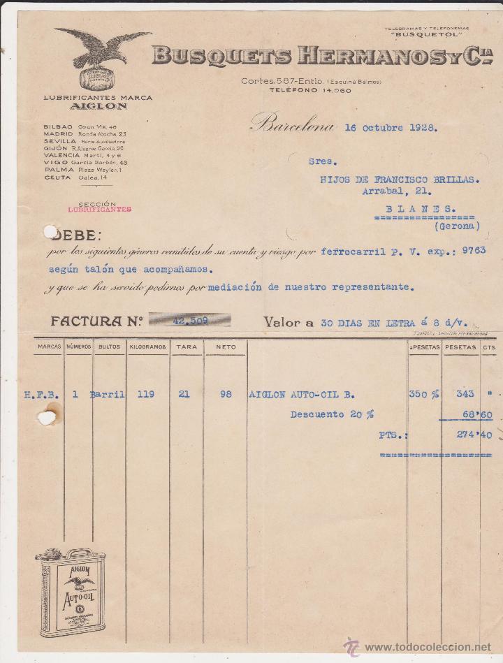 LUBRIFICANTES MARCA AIGLON ,BUSQUETS HERMANOS Y Cº BARCELONA 1928 (Coches y Motocicletas Antiguas y Clásicas - Catálogos, Publicidad y Libros de mecánica)