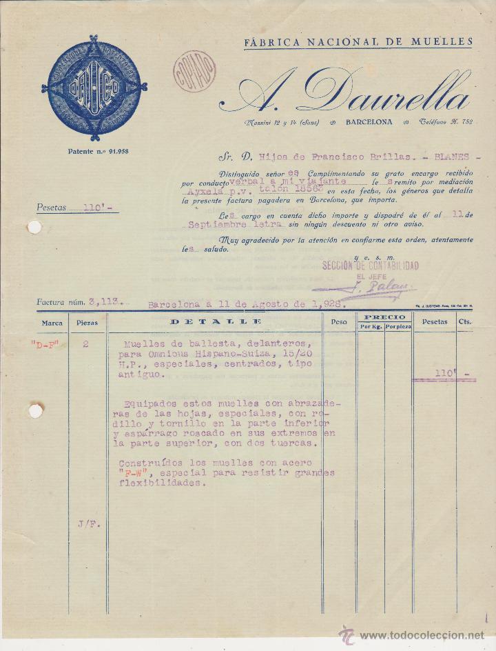 DAUCO SUSPENSIONES FABRICA NACIONAL DE MUELLES BARCELONA 1928 A.DAURELLA (Coches y Motocicletas Antiguas y Clásicas - Catálogos, Publicidad y Libros de mecánica)