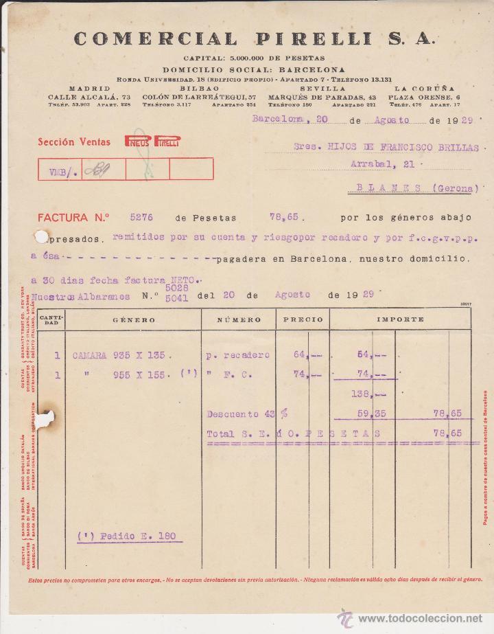 COMERCIAL PIRELLI BARCELONA 1929 (Coches y Motocicletas Antiguas y Clásicas - Catálogos, Publicidad y Libros de mecánica)