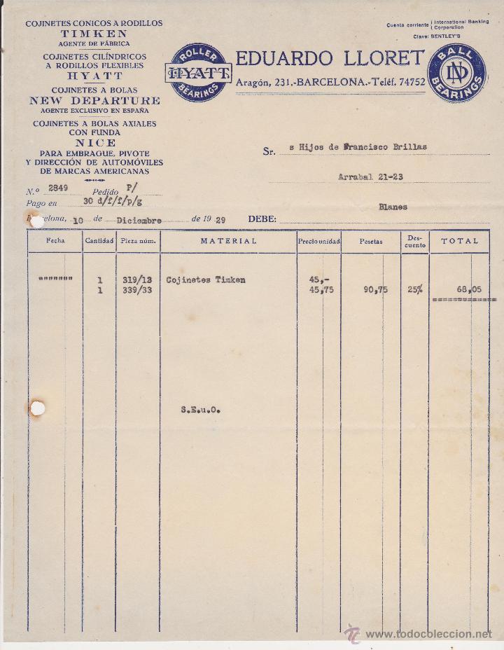 COJINETES TIMKEN,HYATT,NEW DEPARTURE Y NICE EDUARDO LLORET,BARCELONA 1929 (Coches y Motocicletas Antiguas y Clásicas - Catálogos, Publicidad y Libros de mecánica)