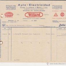 Coches y Motocicletas: AUTO ELECTRCIDAD COMA LLORENS Y BUFILL LTDA BATERIA DE ACUMULADORES WILLARD. Lote 40032651