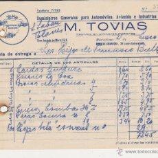 Coches y Motocicletas: M.TOVIAS SUMINISTROS GENERALES PARA AUTOMOVIL,AVIONE INDRUSTRIAS DIVERSAS. Lote 40032885
