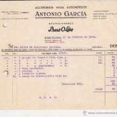 Coches y Motocicletas: ACCESORIOS PARA AUTOMOVILES ANTONIO GARCIA ACUMULADORES PREST-O-LITE,BARCELONA 1928. Lote 40033432