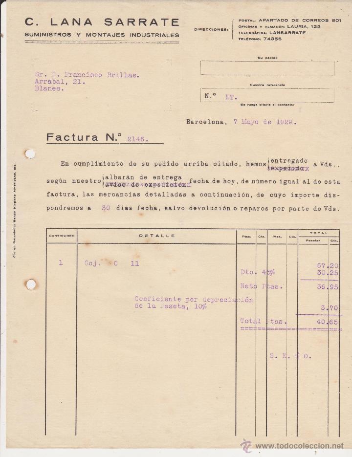 C.LANA SARRATE SUMINISTROS Y MONTAJES INDUSTRIALES.BARCELONA 1929 (Coches y Motocicletas Antiguas y Clásicas - Catálogos, Publicidad y Libros de mecánica)