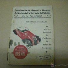 Coches y Motocicletas: CUESTIONARIO MECANICA GENERAL AUTOMÓVILES 1949. Lote 40109077