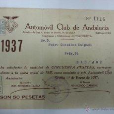 Coches y Motocicletas - recibo de automovil club de andalucia-1937 - 40575469