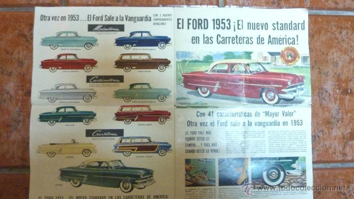 PRECIOSO FOLLETO CATALOGO PUBLICIDAD COCHE FORD 1953. 50 ANIVERSARIO . 50 / 38 CM DESPLEGADO (Coches y Motocicletas Antiguas y Clásicas - Catálogos, Publicidad y Libros de mecánica)