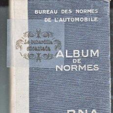 Coches y Motocicletas: LIBRO DEL BUREAU DES NORMES DE L'AUTOMOBILE - ALBUM DE NORMAS - AÑO1943 - VER INTERIOR. Lote 40948235