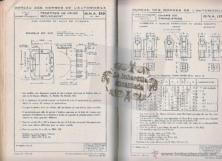 Coches y Motocicletas: LIBRO DEL BUREAU DES NORMES DE LAUTOMOBILE - ALBUM DE NORMAS - AÑO1943 - VER INTERIOR - Foto 2 - 40948235
