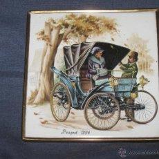 Coches y Motocicletas: COCHE AUTOMOVIL ANTIGUEDADES - AZULEJO ENMARCADO COCHE VETERANO PEUGEOT 1894 . Lote 40991136